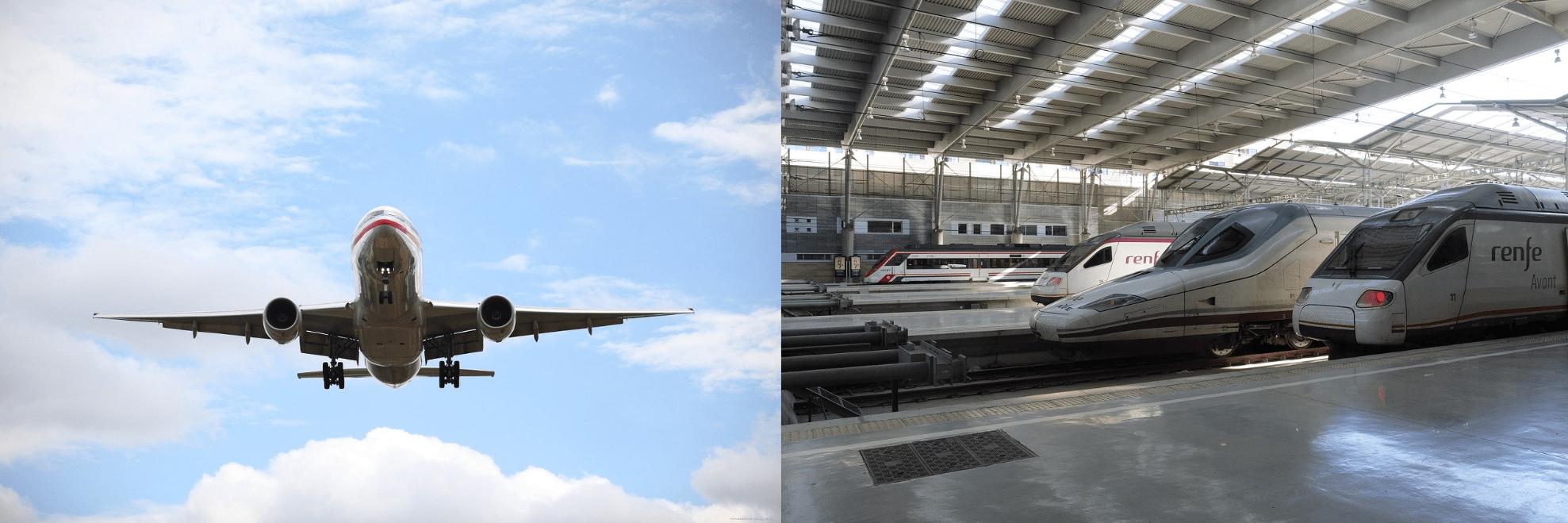 Medidas protección sanitaria en avión y tren